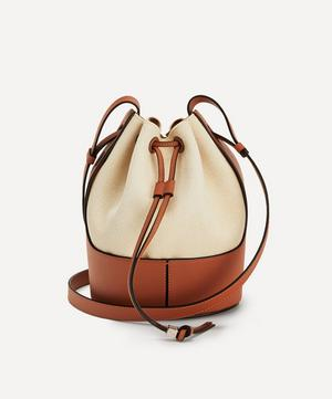 Small Balloon Leather and Canvas Bucket Bag