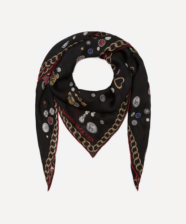 Alexander McQueen - Brooches and Buttons Skull Print Silk Scarf