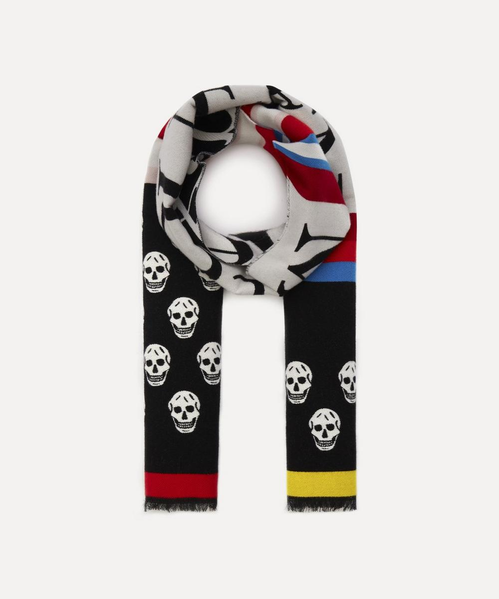 Alexander McQueen - Skull and Stripe Logo Wool-Blend Scarf