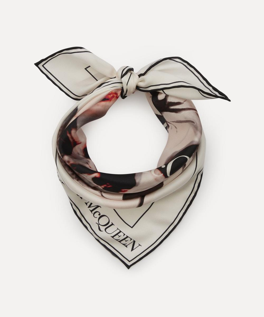 Alexander McQueen - Skull and Rose Ghost Print Silk Bandana Scarf