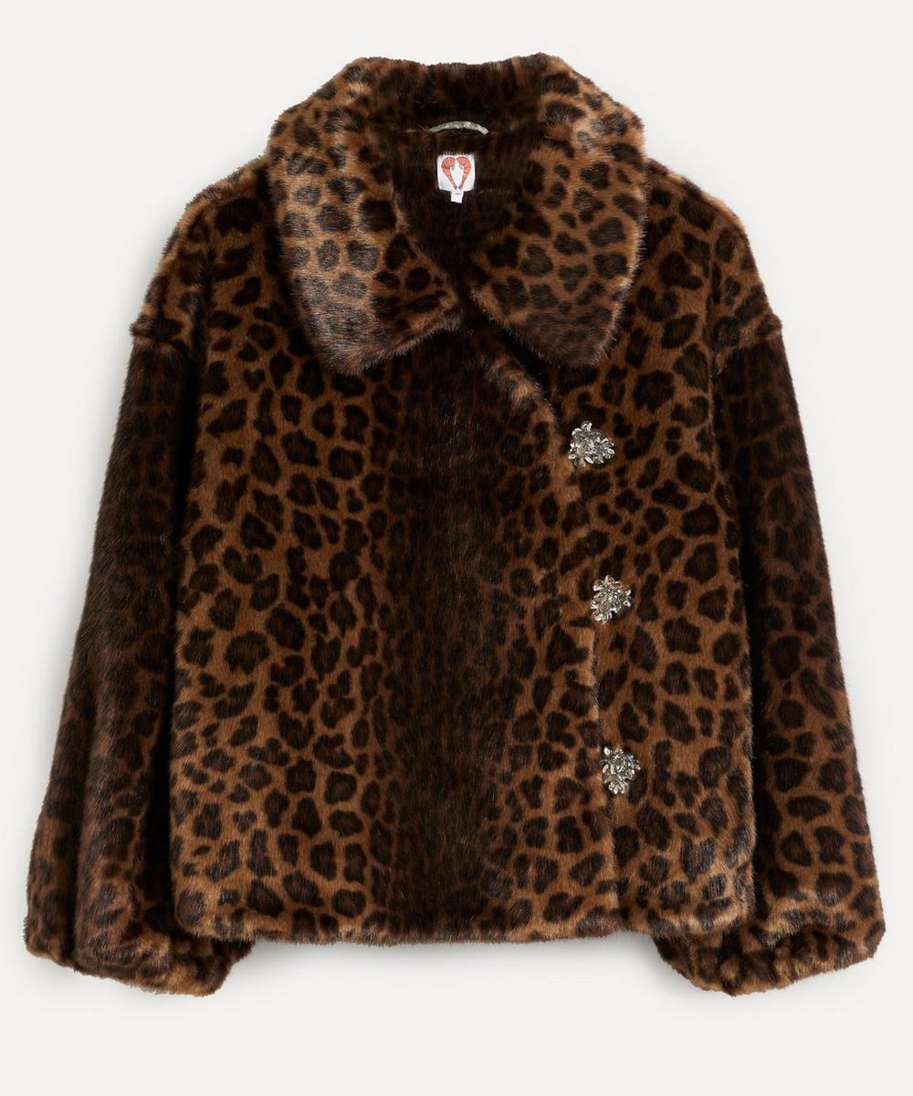 Shrimps - Olga Leopard Print Faux Fur Jacket