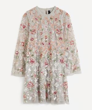 Harlequin Rose Sequin Embellished Mini-Dress