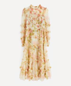 Harlequin Rose Ruffle Midi-Dress