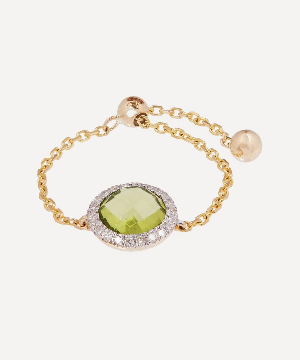 Anissa Kermiche - Gold Peridot and Diamond Chain Ring