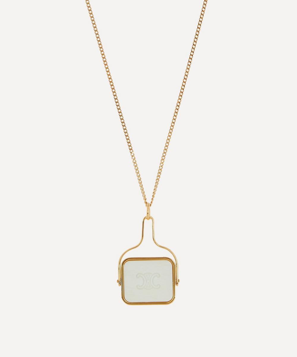 Celine - Gold-Tone Celine Separables White Bone Signet Pendant