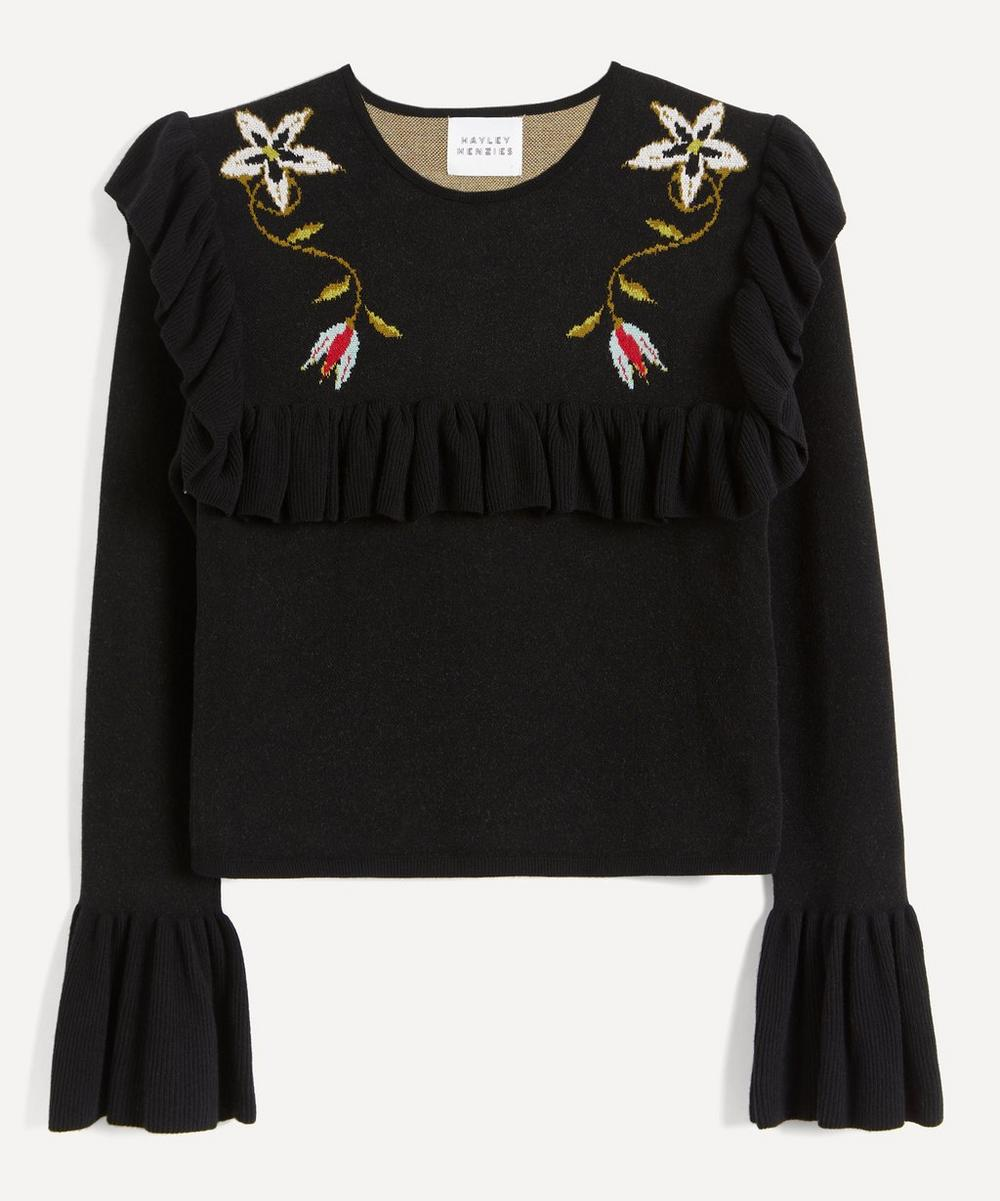 Hayley Menzies - Embroidered Frill-Sleeve Cropped Jumper