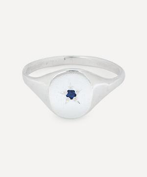 Silver Blue Sapphire Signet Ring