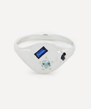 Silver Neapolitan Blue Multi-Stone Signet Ring