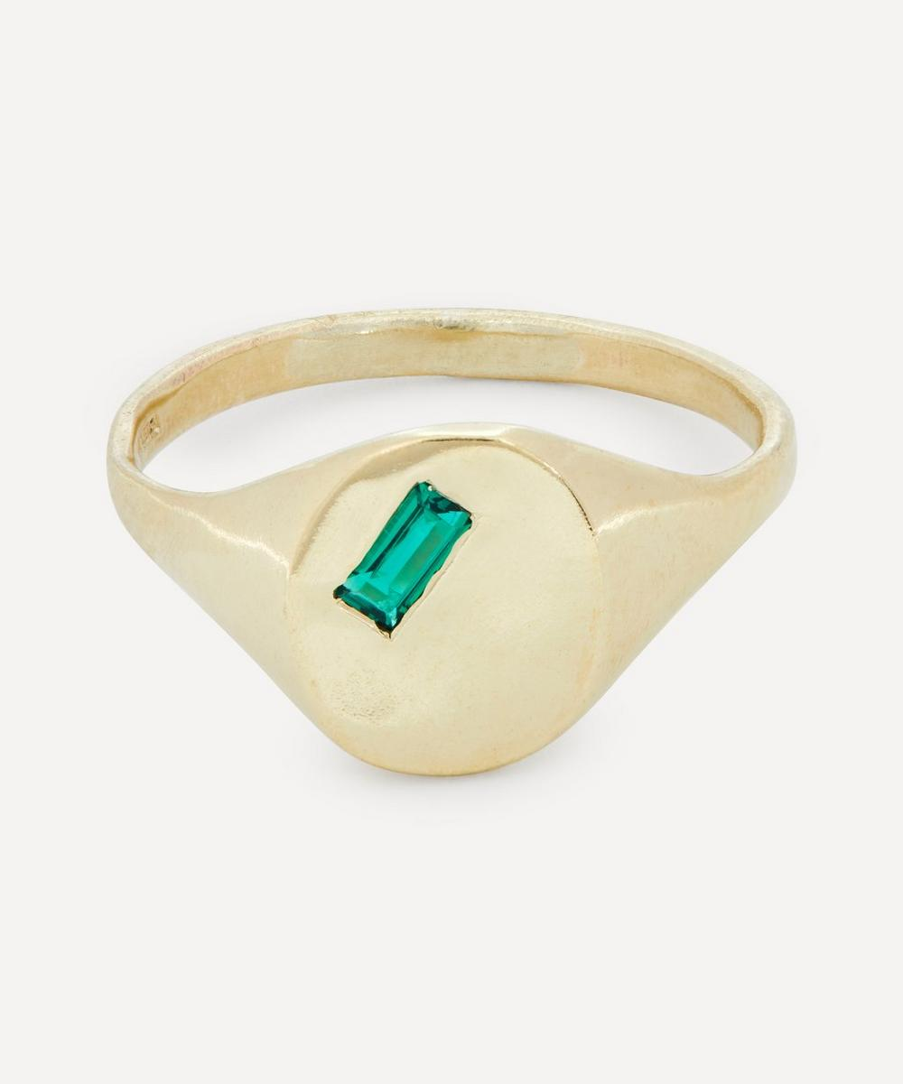 Seb Brown - Gold Baguette Hydrothermal Emerald Signet Ring
