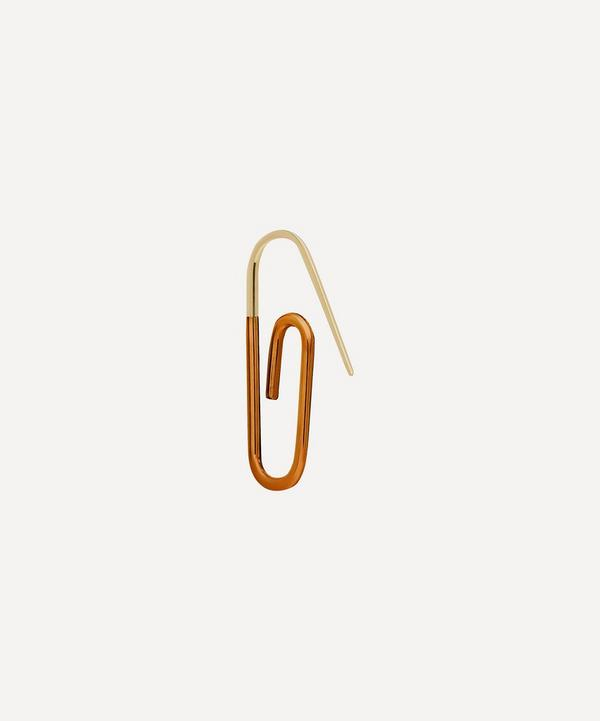 Hillier Bartley - Gold Plated Vermeil Silver The Metallic Enamel Paperclip Earring