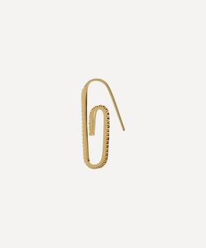 Gold Plated Vermeil Silver Tuxedo Classic Pavé Crystal Paperclip Earring