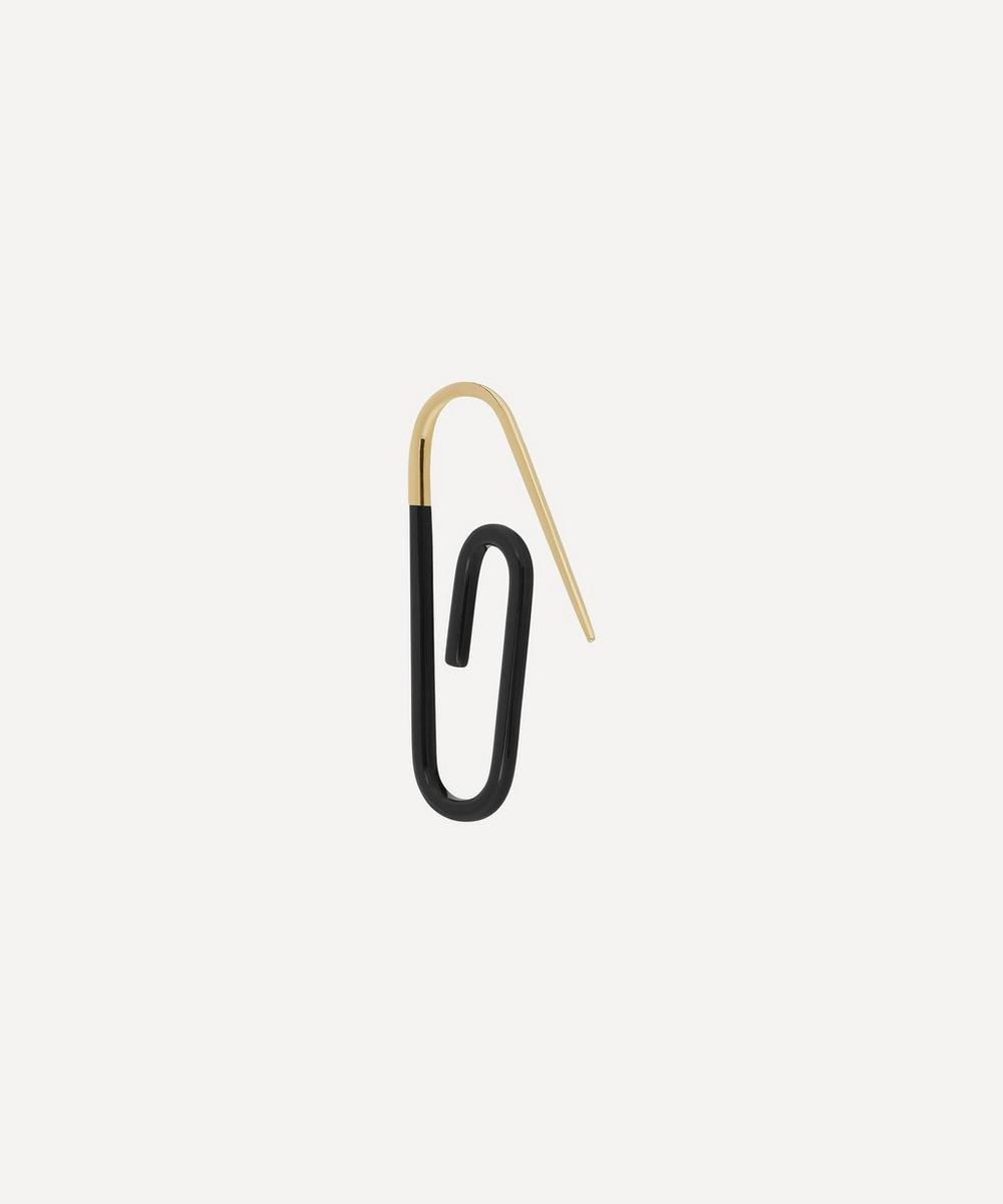 Hillier Bartley - Gold Plated Vermeil Silver Tuxedo Enamel Paperclip Earring