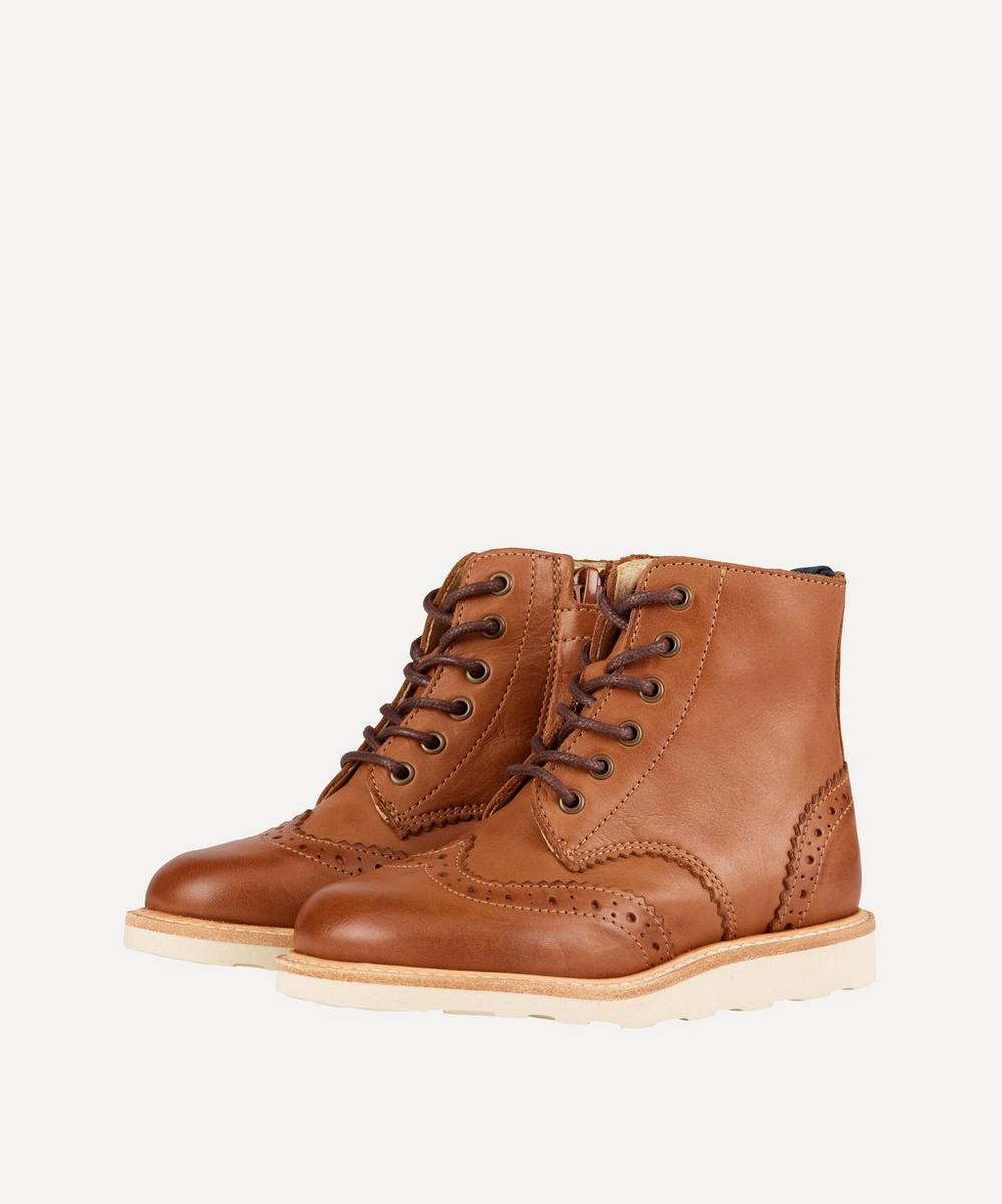 Young Soles - Sidney Burnished Brogue Boots Size 24-25