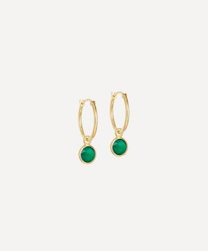 Gold Plated Vermeil Silver Stilla Drop Green Onyx Hoop Earrings