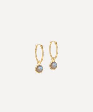 Gold Plated Vermeil Silver Stilla Drop Labradorite Hoop Earrings