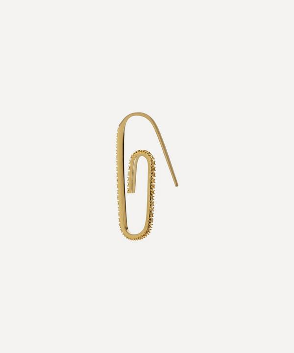 Hillier Bartley - Gold Plated Vermeil Silver The Classic Pavé Crystal Paperclip Earring