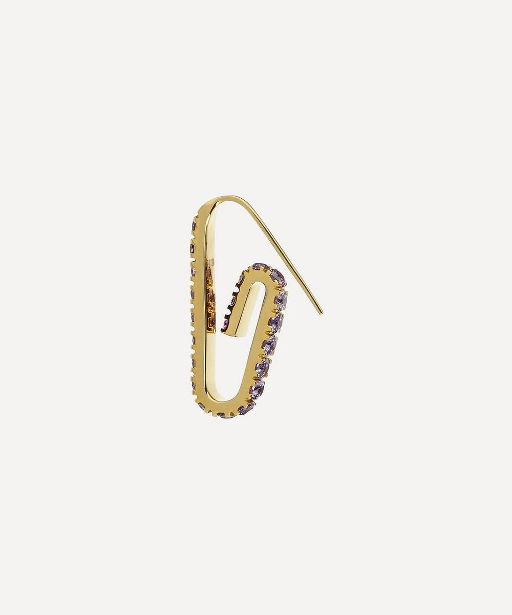 Hillier Bartley - Gold Plated Vermeil Silver The Jumbo Pavé Crystal Paperclip Earring