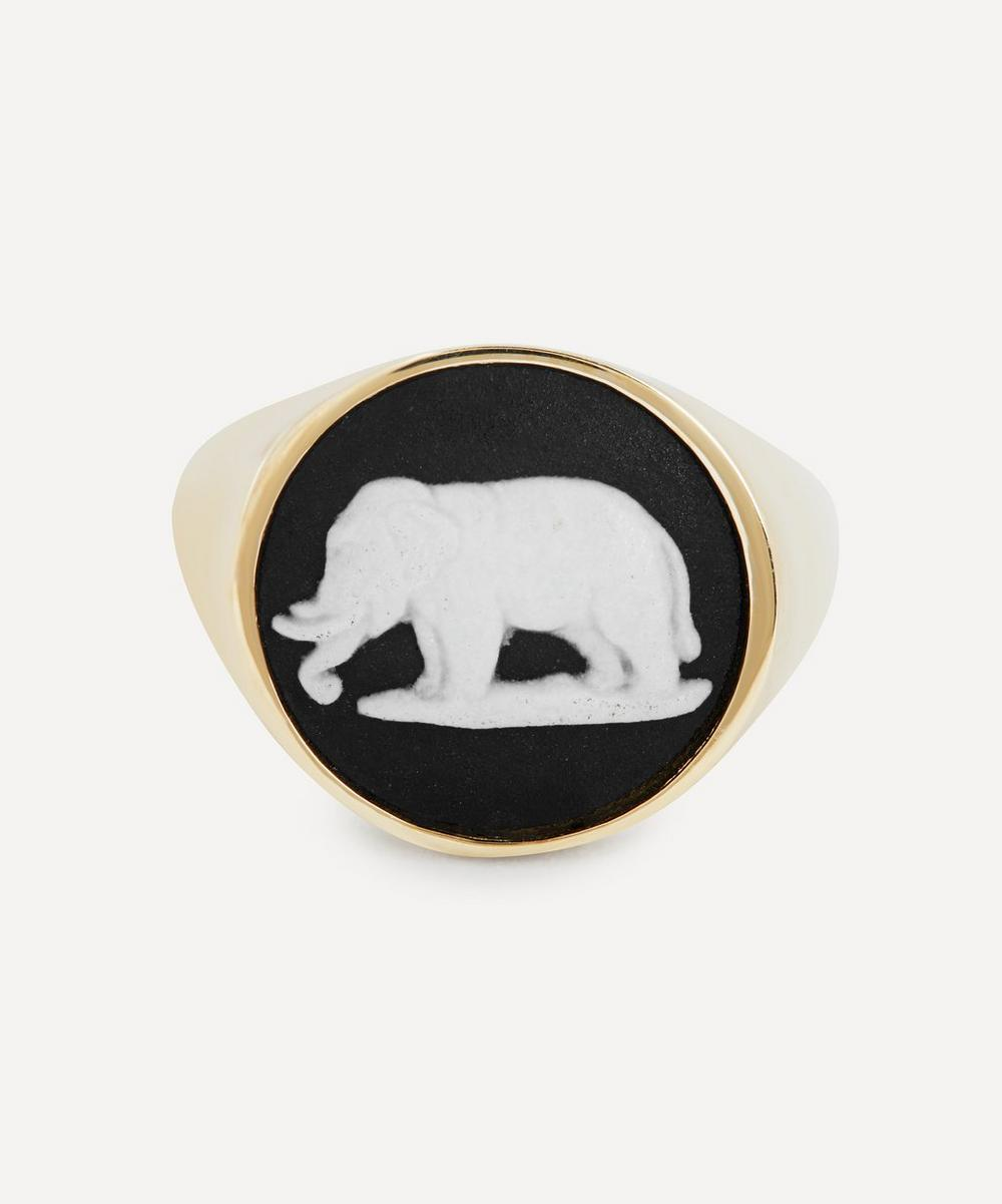 Ferian - Gold Wedgwood Elephant Round Signet Ring