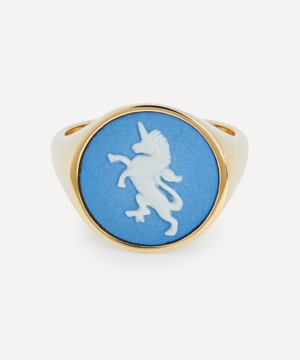 Ferian - Gold Wedgwood Unicorn Round Signet Ring