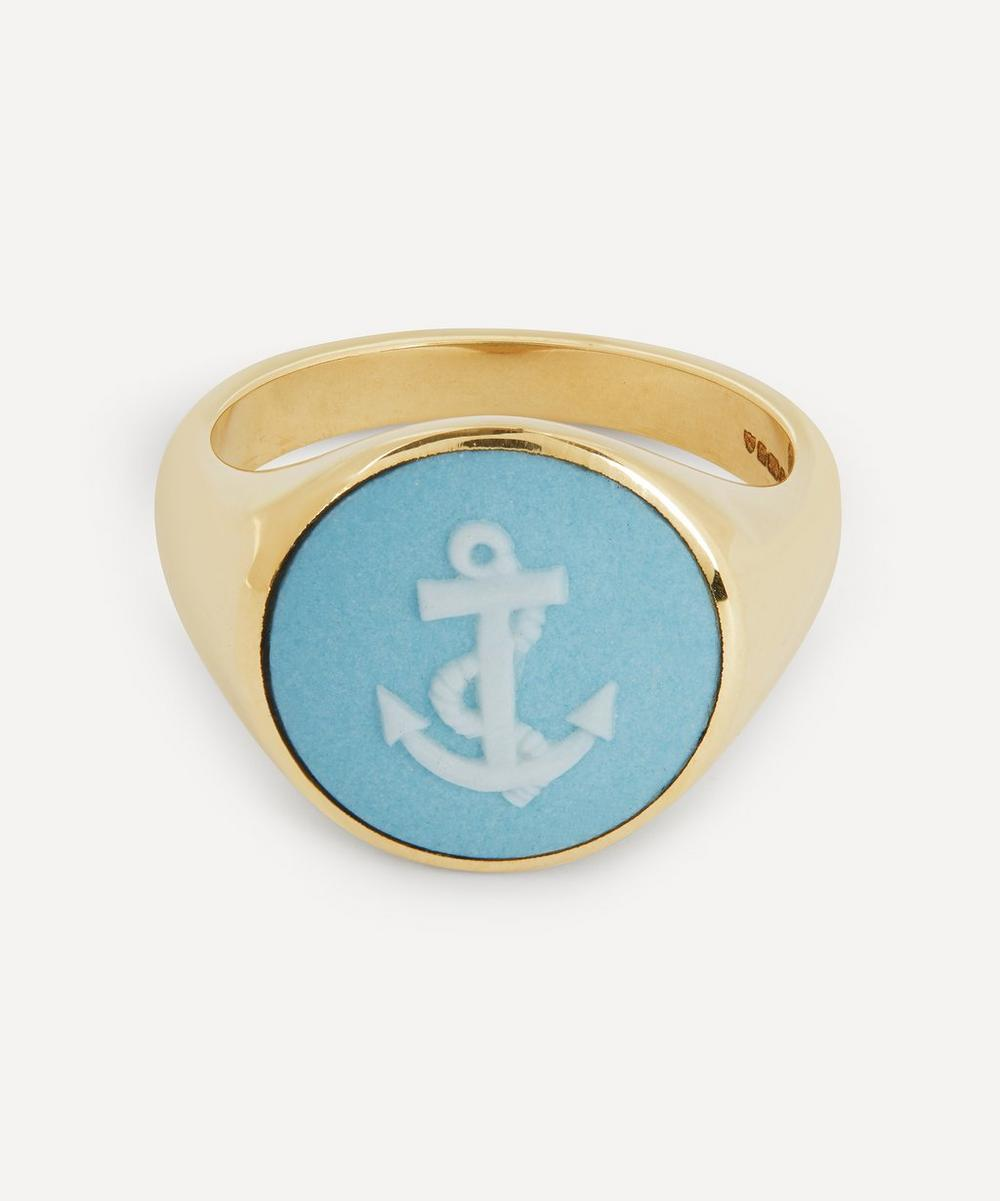 Ferian - Gold Wedgwood Anchor Round Signet Ring
