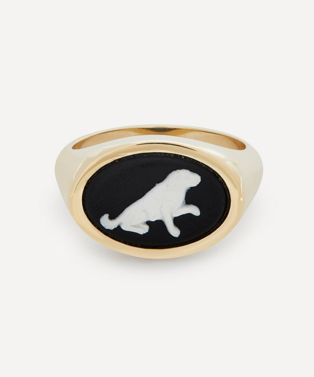Ferian - Gold Wedgwood Begging Dog Oval Signet Ring