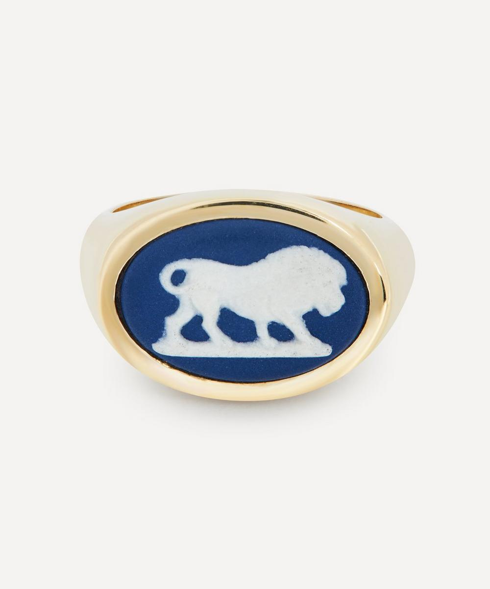 Ferian - Gold Wedgwood Lion Oval Signet Ring