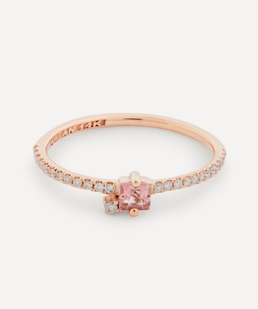 Suzanne Kalan - Rose Gold Princess Cut Morganite Topaz and Diamond Ring