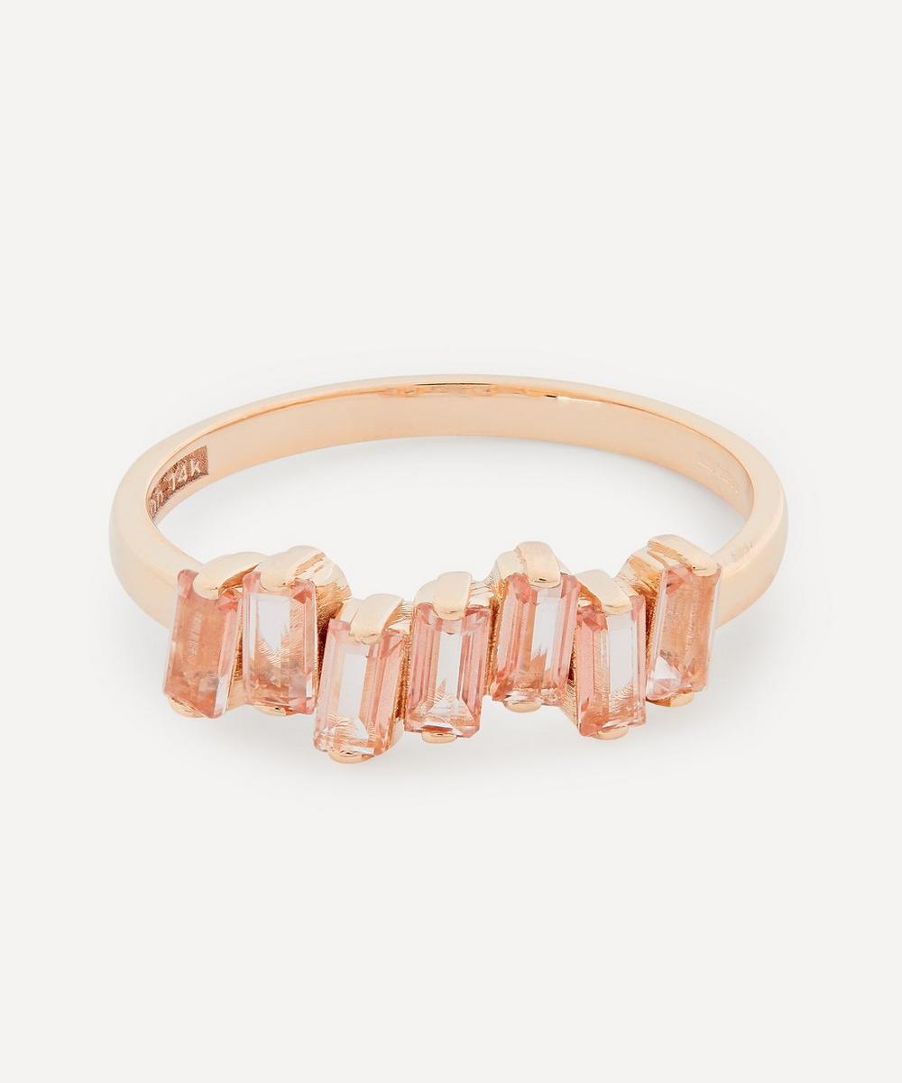 Suzanne Kalan - Rose Gold Morganite Topaz Uneven Baguette Ring