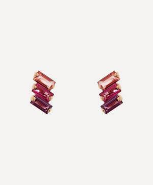 Rose Gold Multi-Stone Stud Earrings