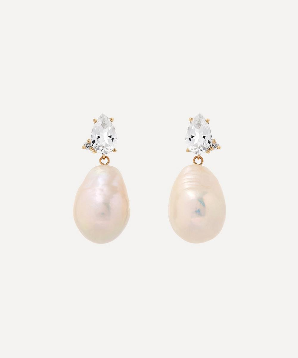 Mizuki - Gold White Topaz with Diamond and Pearl Drop Earrings