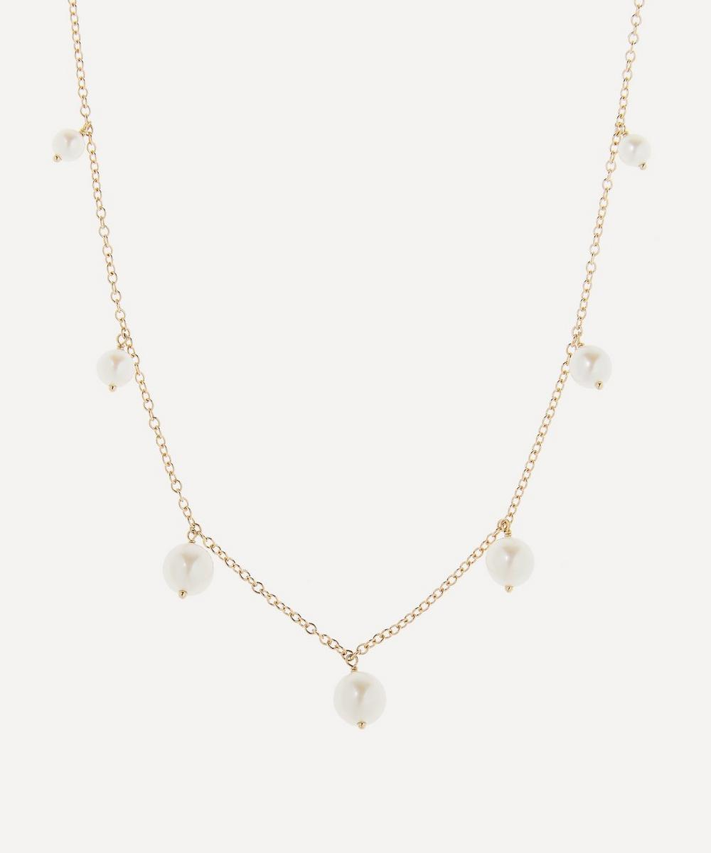 Mizuki - Gold Graduated Pearl Fringe Station Necklace