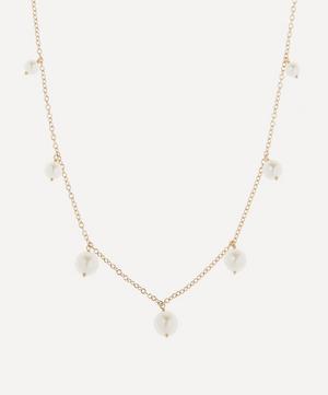 Gold Graduated Pearl Fringe Station Necklace