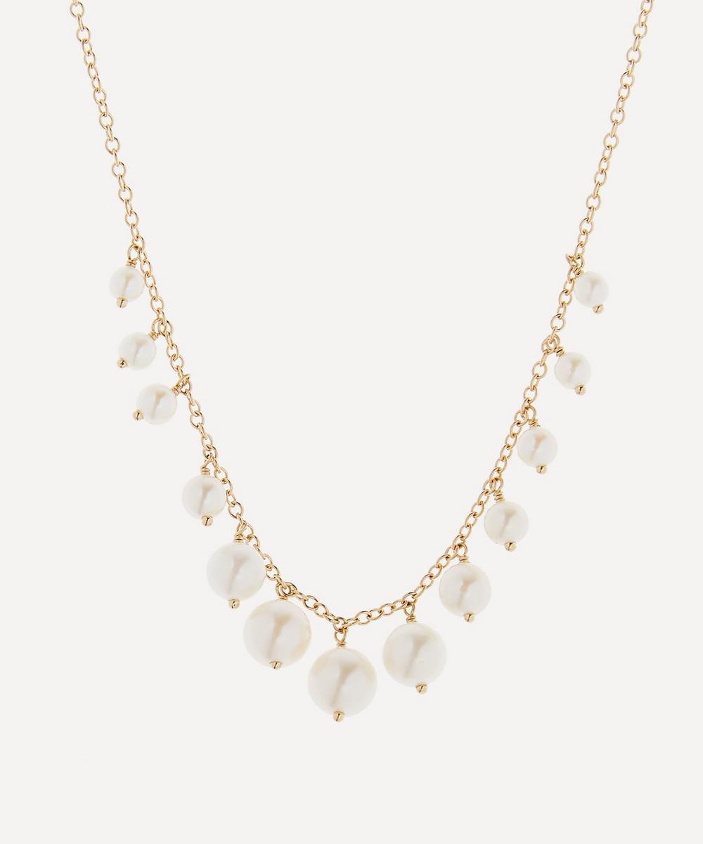 Mizuki - Gold Graduated Pearl Fringe Necklace