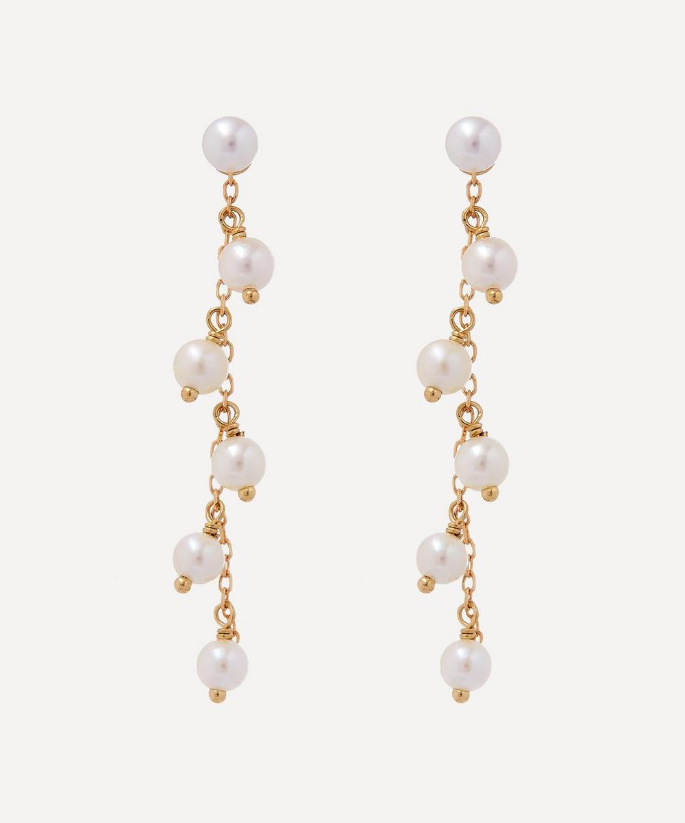 Mizuki - Gold Pearl Fringe Detachable Drop Earrings