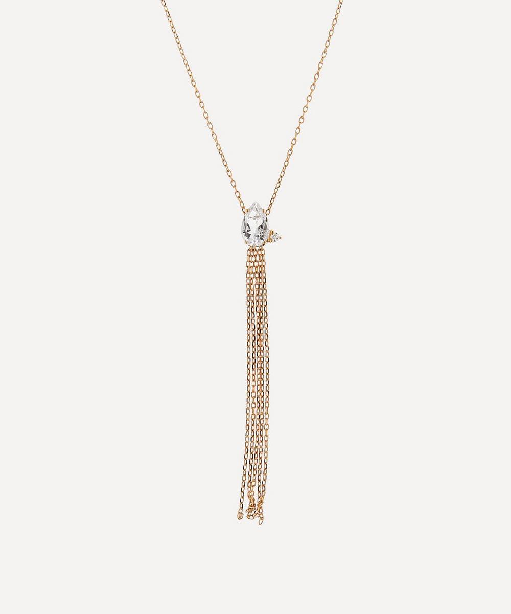 Mizuki - Gold White Topaz and Diamond Fringe Pendant Necklace
