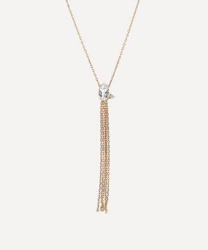Gold White Topaz and Diamond Fringe Pendant Necklace