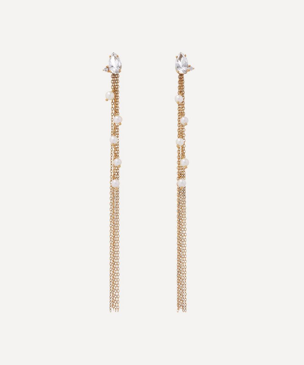 Mizuki - Gold White Topaz and Diamond Long Pearl Fringe Drop Earrings