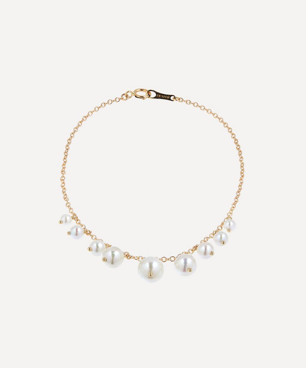 Mizuki - Gold Graduated Pearl Fringe Bracelet