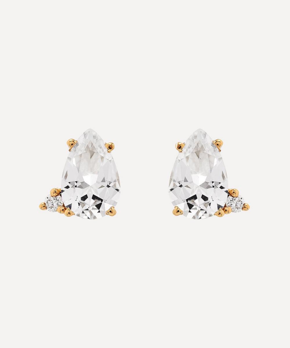Mizuki - Gold White Topaz and Diamond Stud Earrings