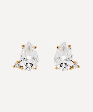 Gold White Topaz and Diamond Stud Earrings