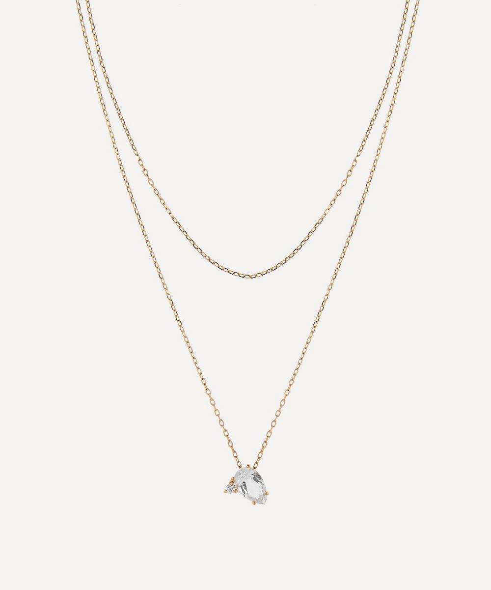 Mizuki - Gold White Topaz and Diamond Double Chain Pendant Necklace
