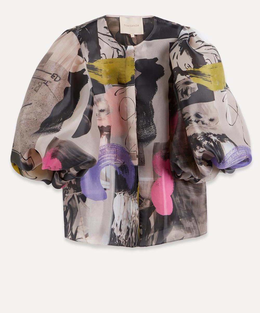 Roksanda - Mimi Print Organza Puff-Sleeve Blouse
