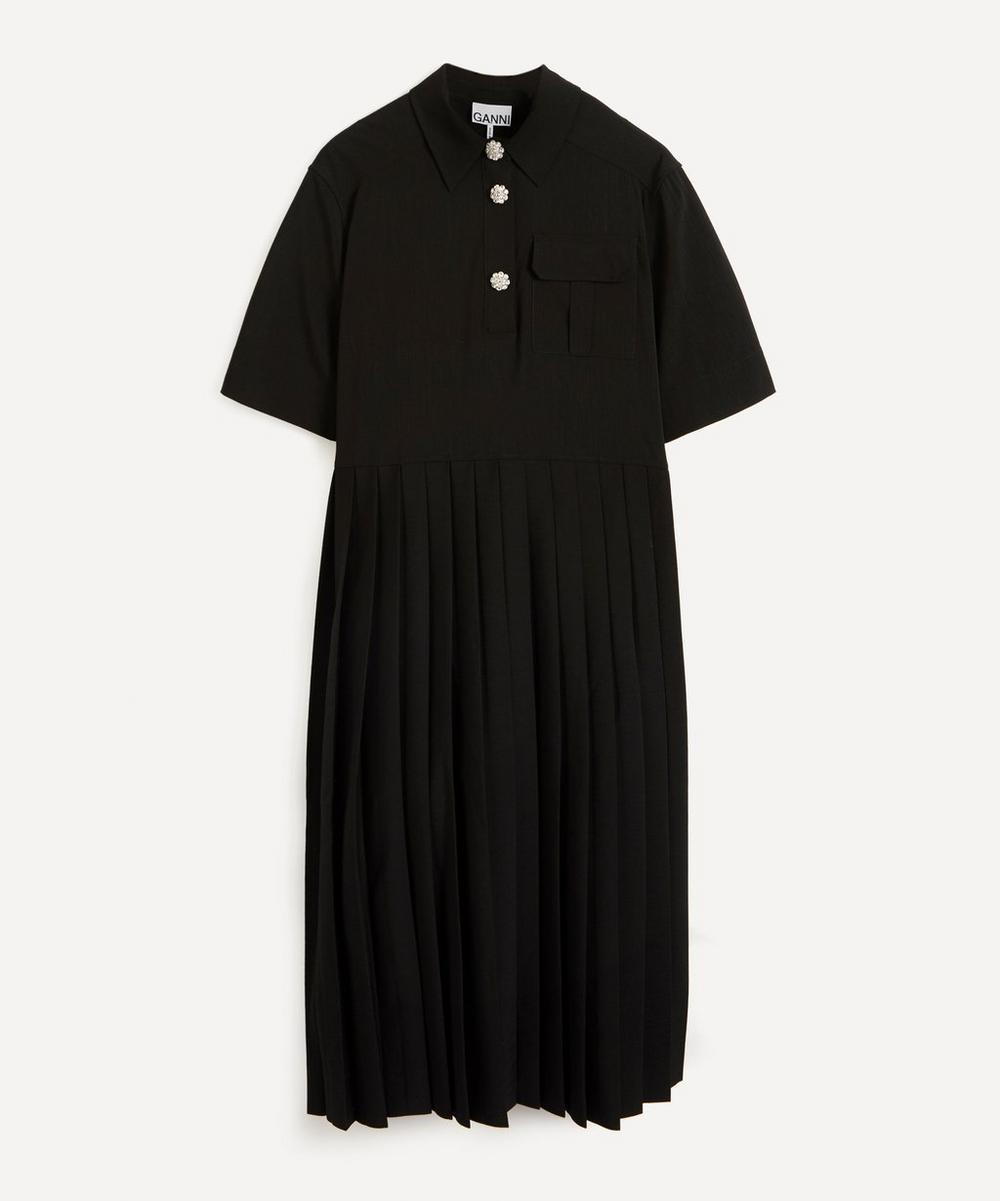 Ganni - Short-Sleeve Pleated Shirt-Dress