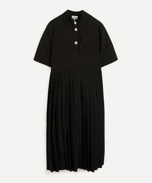 Short-Sleeve Pleated Shirt-Dress
