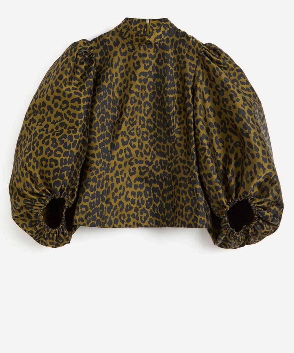 Ganni - Leopard Print Crispy Jacquard Top