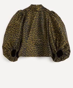 Leopard Print Crispy Jacquard Top
