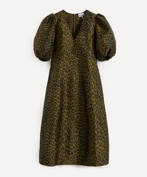 Leopard Crispy Jacquard Midi-Dress