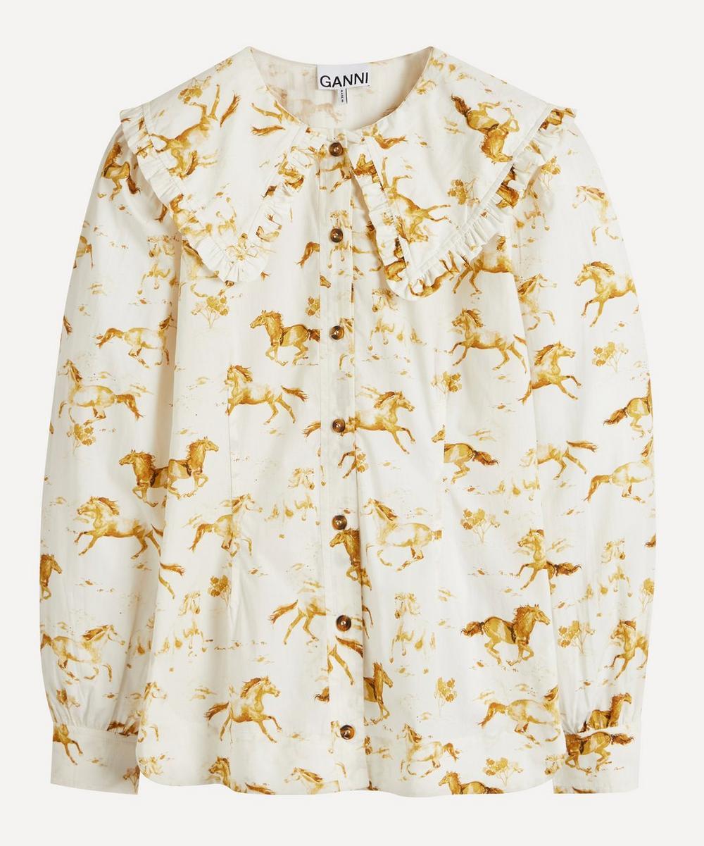 Ganni - Horse Print Ruffle Collar Shirt