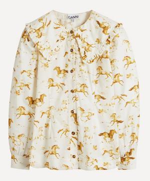 Horse Print Ruffle Collar Shirt