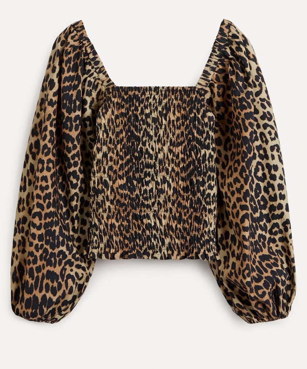 Ganni - Leopard Print Puff-Sleeve Top